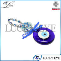 2017 wholesale Fashion beads evil eye protection wall hanging blue bow knot evil eye favor hangings