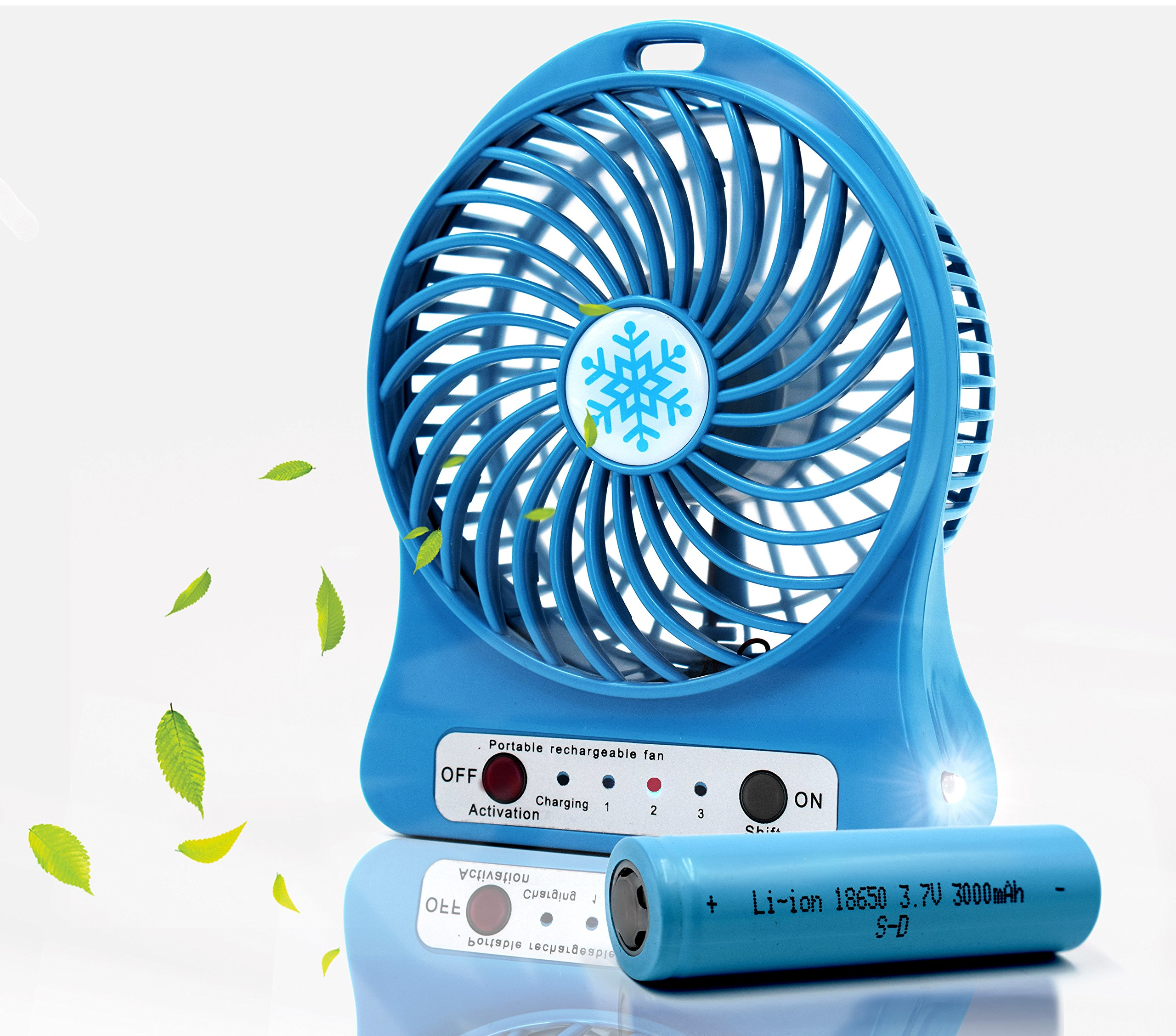 Haoerliang USB Table Desk Protable rechargeable mini fan with LED light,quiet and large air flow (Blue)