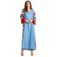 Cross border women's wear new product Amazon explosion 2018 autumn winter printing long dress dress Muslim clothes