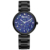 2017 Fashion Cute Flower Printed Stainless Steel Band Back Women Watch