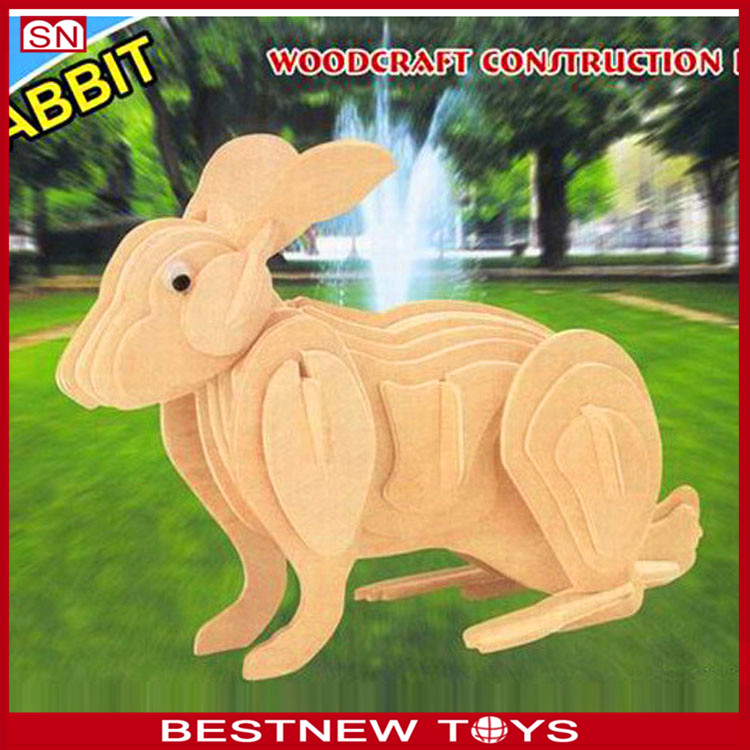 Wooden toy rabbit puzzle educational toy for children