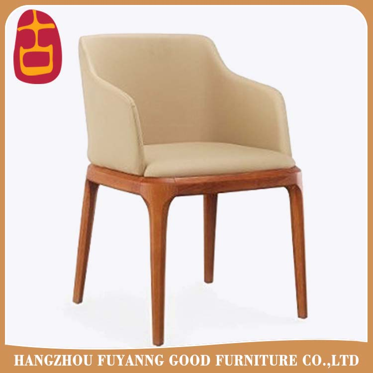 PU lether solid wood banquet chairs with wooden frames