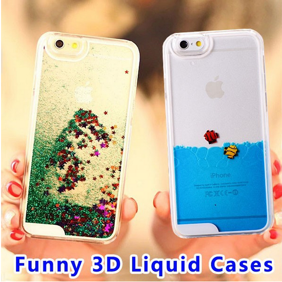 swimming fish flowing star liquid floating 3d phone case for iphone 6 plus Case for mobile phone,cover case for lg lg4