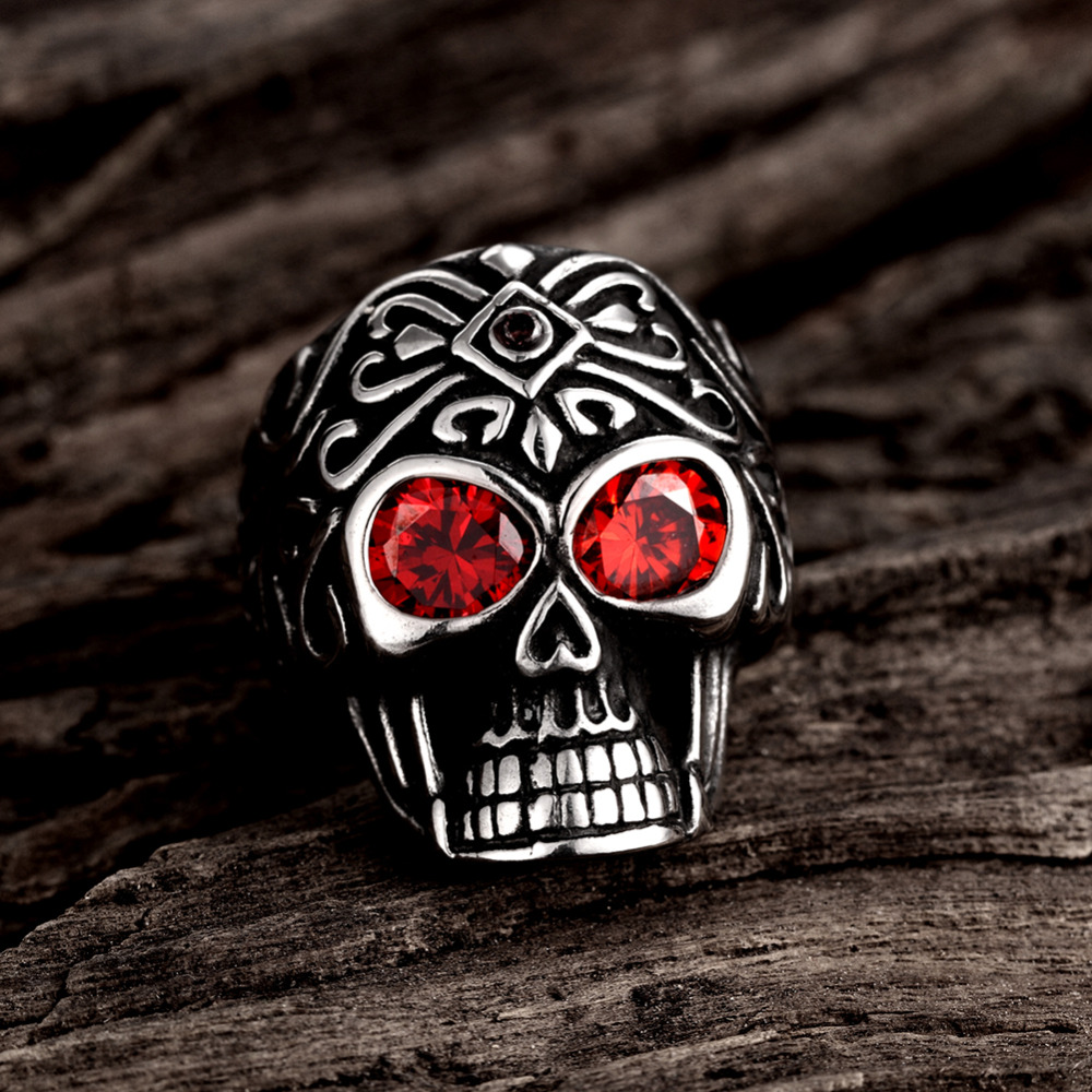 JZ112 JN Vintage Skull Ring Stainless Steel Red CZ Eyes Black Silver Tone Mens Jewerly fashion men's finger ring