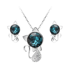 Fashionable wholesale silver plating blue crystal white crystal cat necklace/earring italian jewelry set