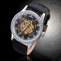 GOER Man's Mechanical Wristwatch Leather Strap Classic Skeleton Sport Watch Clock