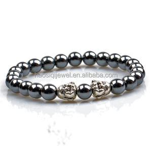 Factory Price New Jewelry 8mm natural black hematite beads silver buddha head charm men bracelets bangles