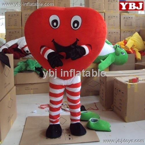 2015 Factory direct sale lovely red heart costume plush red heart mascot costume for adults