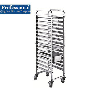 Fast Food Restaurant 201/304 Stainless Steel Service Tray Trolley, Gastronome Pan Rack Trolley
