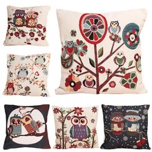 ASLT Cotton Linen Owl Bird Pillow Case  Home Textile Free Shipping