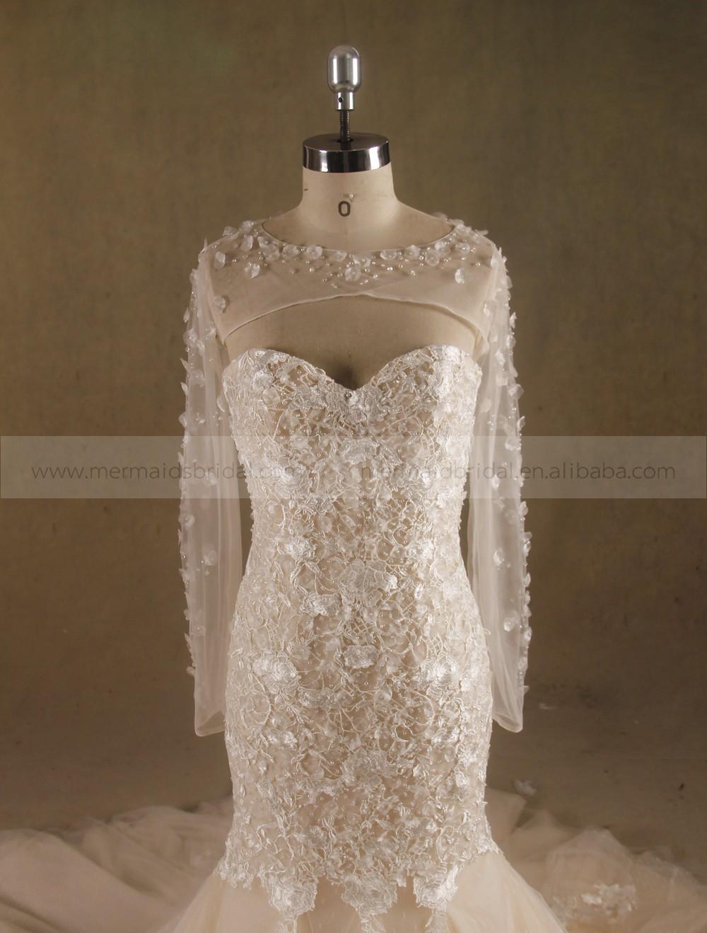 Fairy Heart Neck Mermaid Lace Handmade Flowers Wedding Dress Bottom