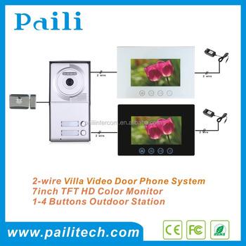 2 Wire Villa Video Door Phone 2 Apartments Video Intercom 7inch