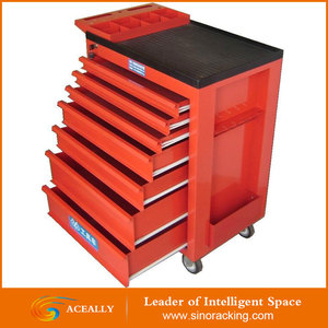 Heavy duty 10 drawer stainless steel tool cabinet / tool box trolly