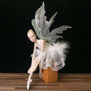 Custom beautiful elegant ballet beauty dancer resin angel crafts figurine statue