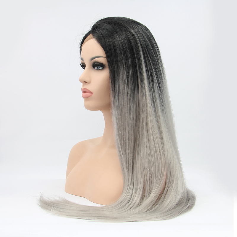 22 Long Ombre Dark Root Gray Straight Synthetic Lace Wig Fashion