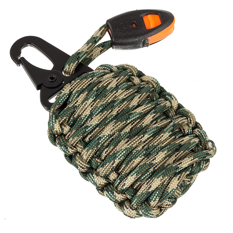 Hot sell Survival paracord fish kit bag 16 in 1 Multifunction Outdoor survival fire kit with Eagle mouth buckle
