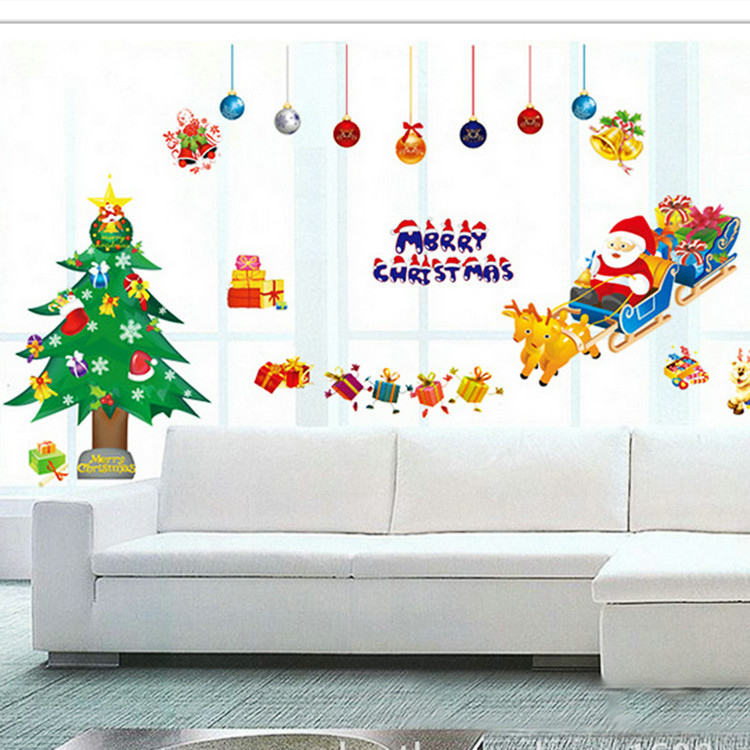 New Year 2015 Christmas Wall Sticker Christmas Pattern Wall Sticker Home Decoration Natal Warm Festival Sticker Free Shipping