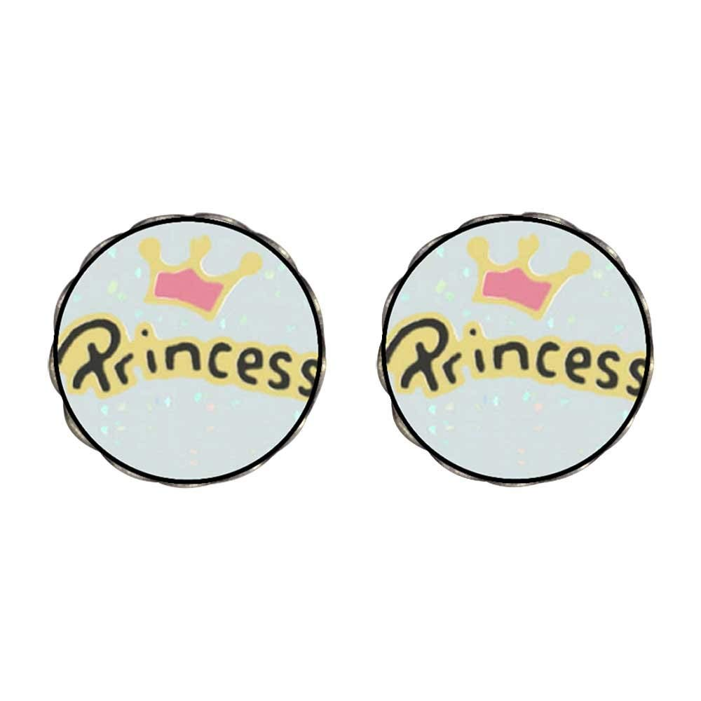 GiftJewelryShop Bronze Retro Style Crown princess Photo Stud Heart Earrings #12 Photo