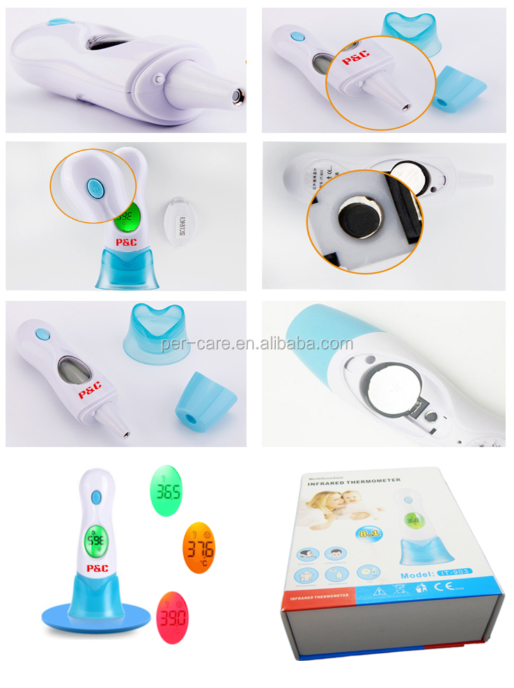 flexible ear cover thermometer probe with stainless steel material for body ear/ object/ room temperature