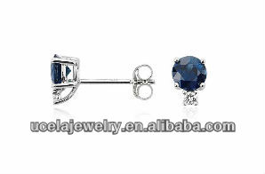American 18k White Gold Sapphire and Diamond Stud Earrings