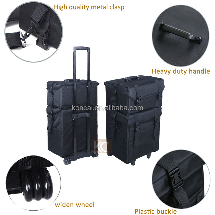 Black beautiful professional nylon make up box murah trolley case, ladies make up box large capacity