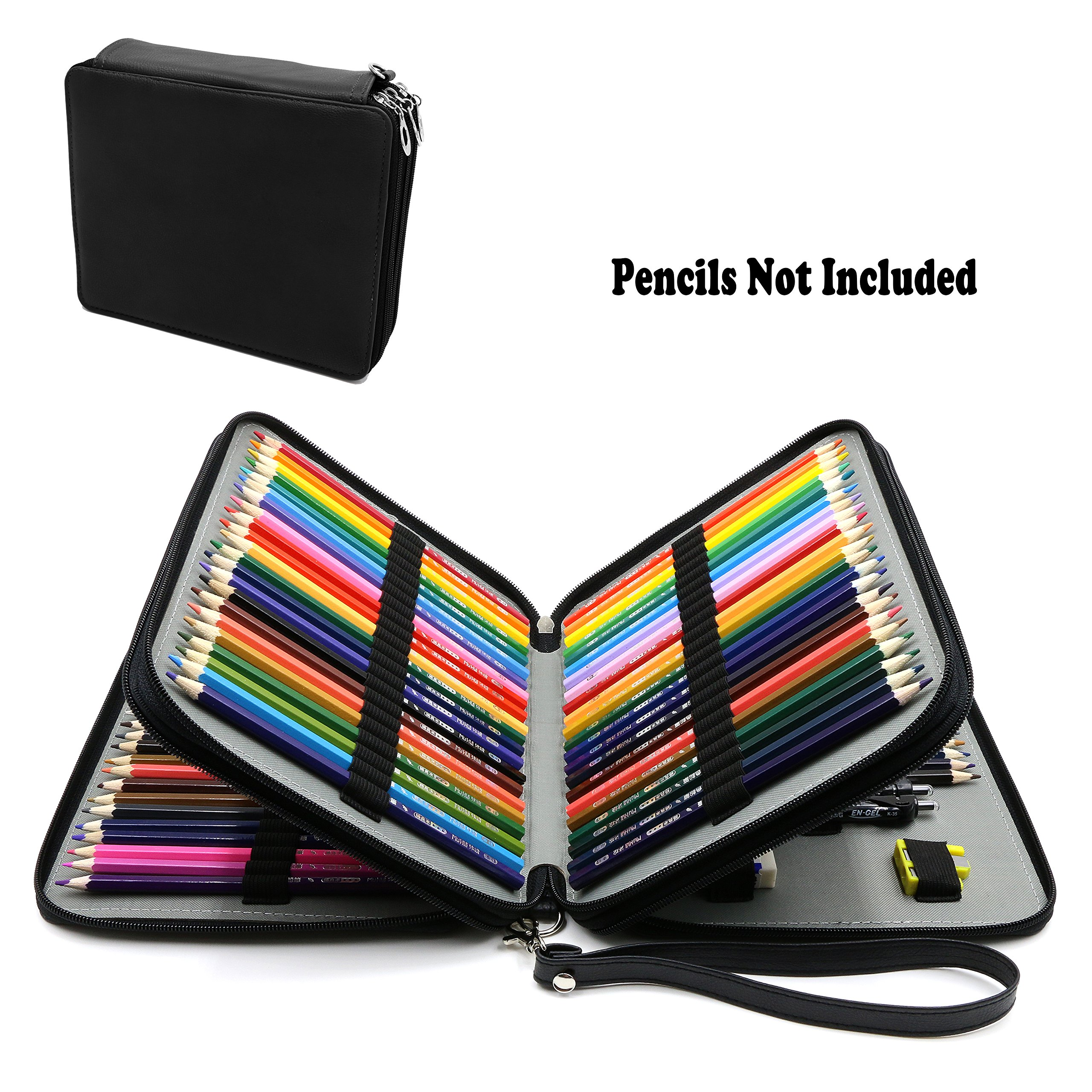 120 Slots Pencil Case – PU Leather Large Capacity Multi-layer Pencil Holder Zipper Pen Bag for Prismacolor Watercolor Pencils, Colored Pencil By WeiBonD (Black)
