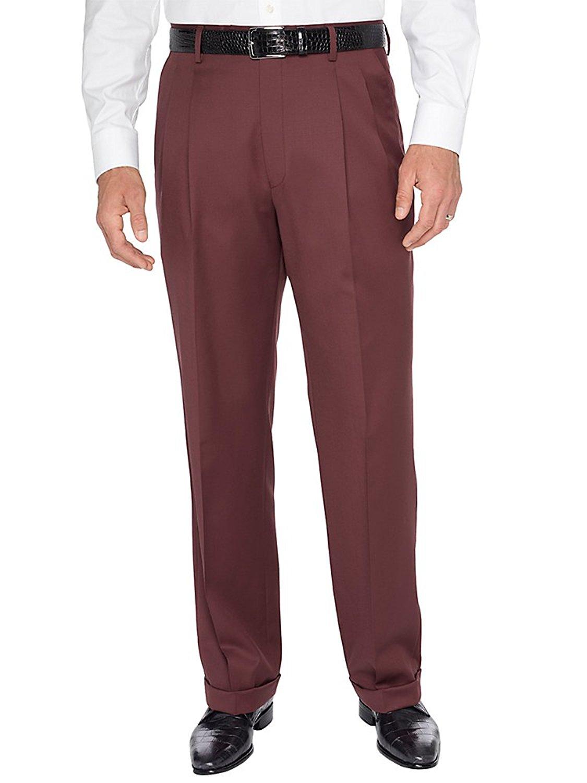 Greg Peters Wool Solid Gabardine Flat Front Dress Pants