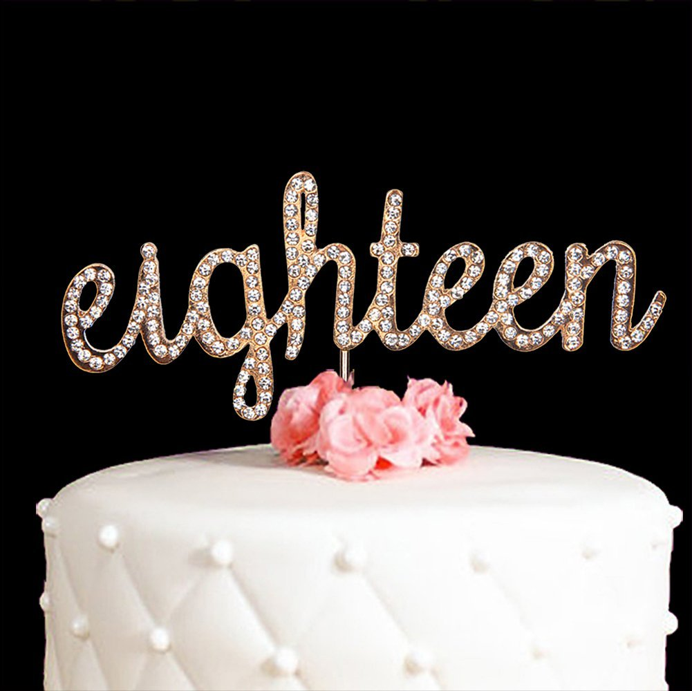Silver//Gold Plated Crystal Number Birthday Wedding Cake Topper Party Decoration