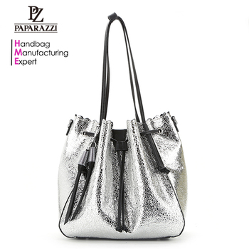 8798 China manufacturer 2018 new arrival fashion design women drawstring bag  metallic PU leather lady tote a14139832
