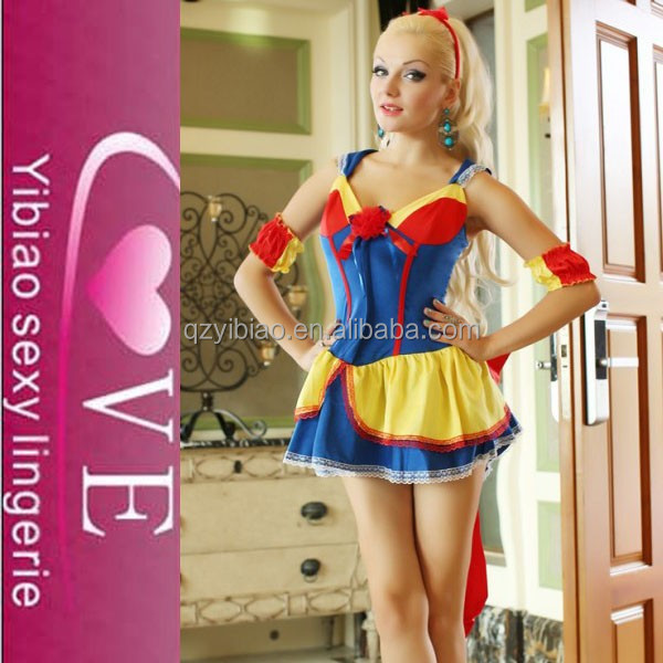 2015 wholesale blue ruffle with yellow covers Sexy French maid costume