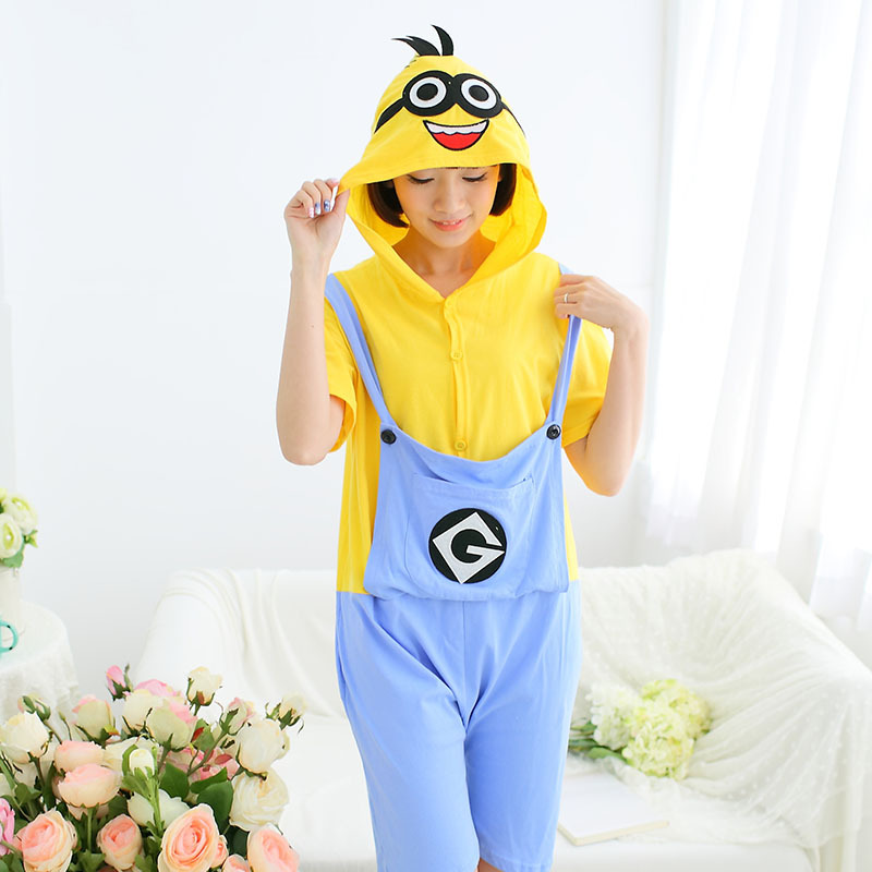 Get Quotations · Despicable Me Minion couples Onesie Pajamas Women Anime  Cosplay Costume Onesies Adult Short Sleeve Cotton Sleepwear 553cd8884