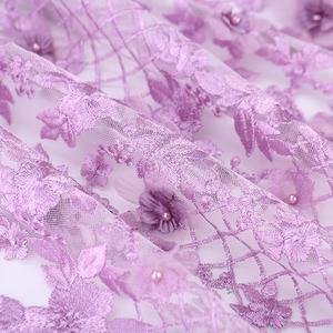 SGS certificated textile embroidered beaded design 3d flower fabric french lace embroidery