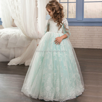 New Style Children Frocks Lace Tulle Long A Line Kids Party Dress ...