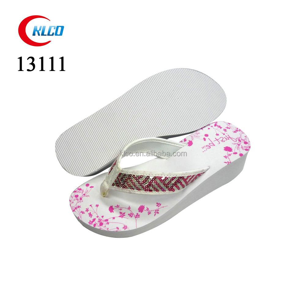 Fashion thick sole white sequins lady EVA flip flop wedge heel