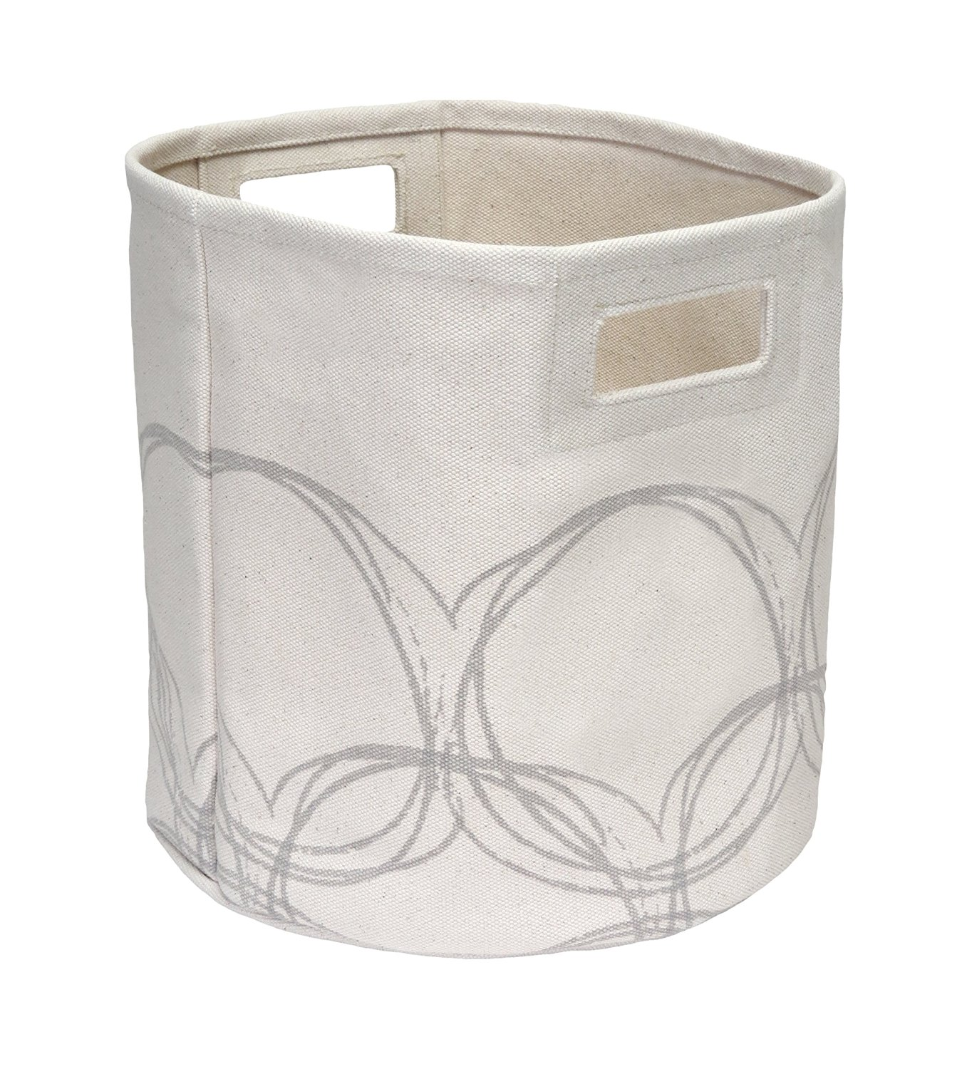 Hom Essence 6595 Canvas Storage Bins With Natural Circles, 12 By 12 By 12  Inch, Cream