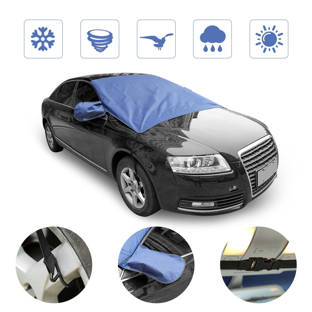 """Windshield Cover for Ice and Snow, Rectangle Ice Frost Rain Resistant Snow Cover, Fits for Most Vehicle, 62""""x56"""" with Extra Long Hood Skirt and Mirror Covers"""