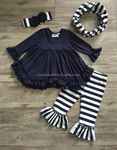 OEM black stripe pants flower ruffle clothing sets fall boutique girl clothing