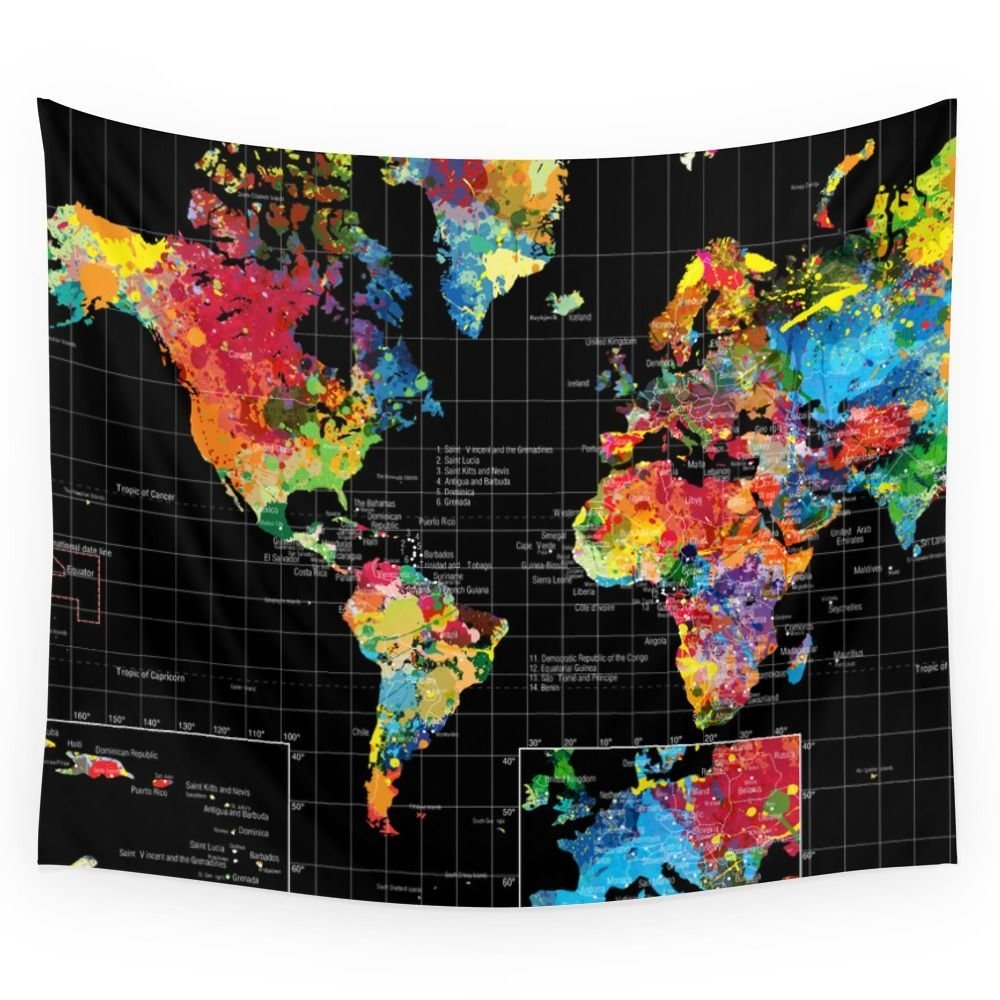 Buy society6 abstract world map black wall tapestry by gary society6 abstract world map black wall tapestry small 51 gumiabroncs Choice Image