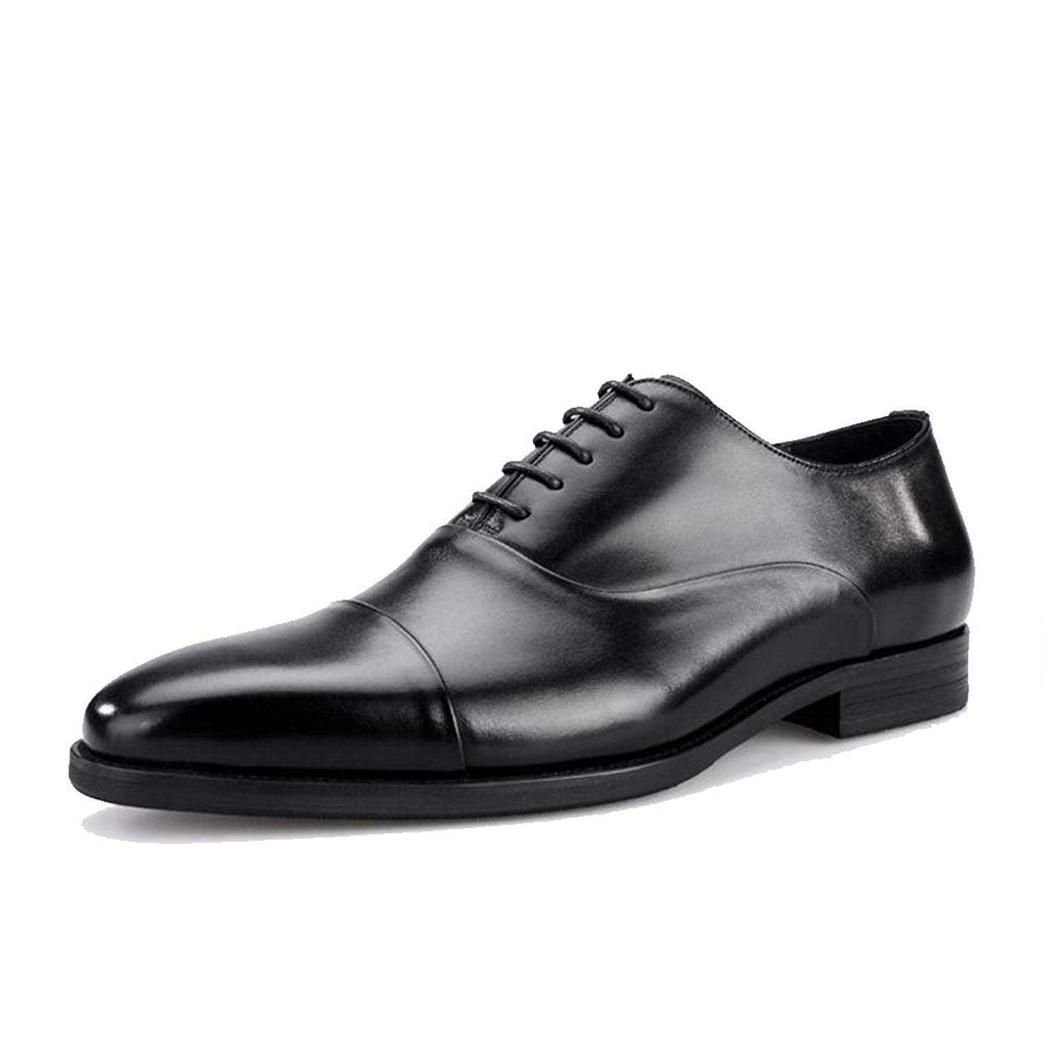 JUNBOSI Three-Joint Men's Shoes - High-end Men's Leather Shoes - Lace up Formal Business Shoes. Four Seasons Size 6-12 (Color : Black, Size : 43)