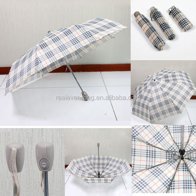 170T plaid polyester auto open and close 3 folded portable umbrella
