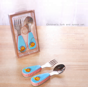 lovely design food grade stainless steel 304 baby spoon and fork cutlery with cartoon silicone handle