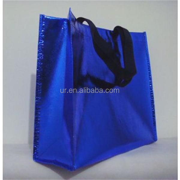 Shiny shopping Bag, promotional carrier bag made of PP non-woven fabric with laser lamination, customized logo printing