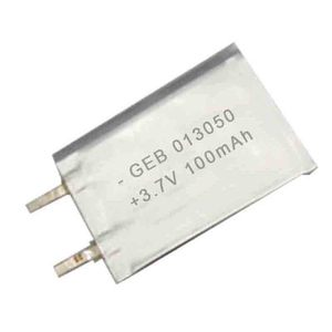 Rechargeable thin and small size 013050 lithium polymer battery 3.7V 100mAh