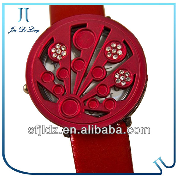 Red Color Watches For Women Real Strap Watch Lady Diamond Covered Watches