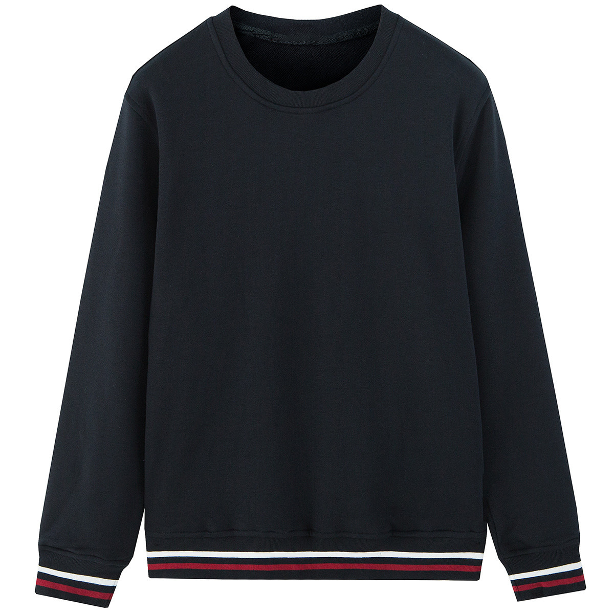 New casual Round Collared Loose Cotton Color Matching Long Sleeve Men's Sweater