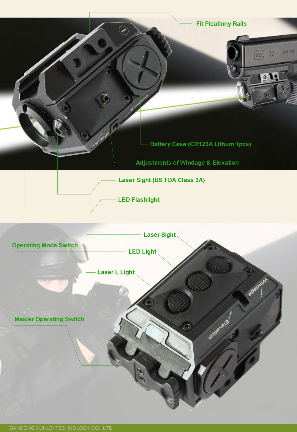 Compact Pistol Infrared Laser Sight And 180lumen Led Weapon Light ...