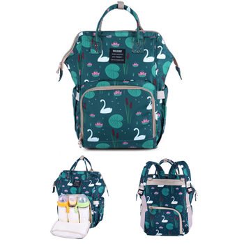 2018 New Design Large Capacity Customized  Daily Multifunctional Swan Prints Diaper Backpack Bag  Mommy Bag