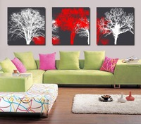 Modern Artwork Painting Black White Red Tree Canvas Print Wall Art Multi Panel Paintings