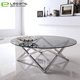 Living room stainless steel legs round glass top coffee table