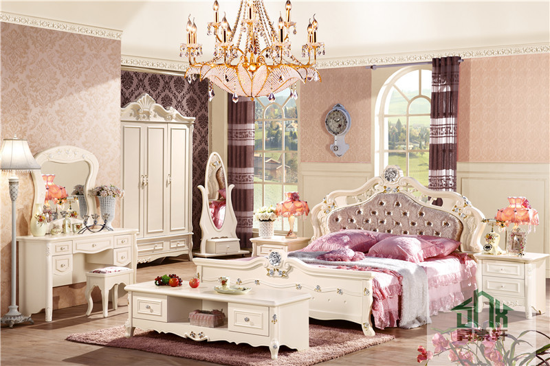 Latest Fancy Bedroom Set HA 909# Antique Bedroom Furniture Set Bedroom Set  For Girl